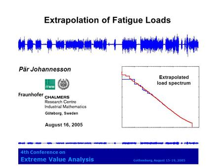 Extrapolation of Fatigue Loads 4th Conference on Extreme Value Analysis Gothenburg, August 15-19, 2005 Pär Johannesson Göteborg, Sweden August 16, 2005.
