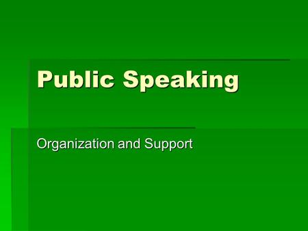 Public Speaking Organization and Support. Introduction and Overview  Structuring the speech  Outlining  Organizing  Supporting material  Visual aids.