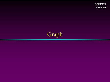 Graph COMP171 Fall 2005. Graph / Slide 2 Graphs * Extremely useful tool in modeling problems * Consist of: n Vertices n Edges D E A C F B Vertex Edge.