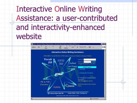 Interactive Online Writing Assistance: a user-contributed and interactivity-enhanced website.