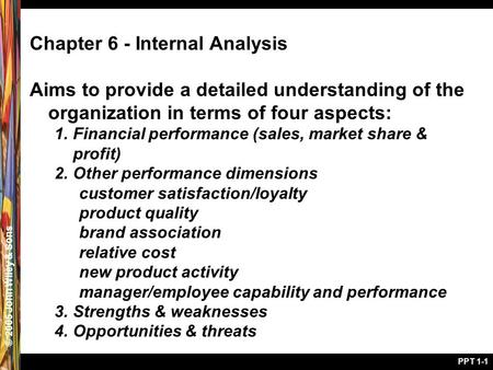 © 2005 John Wiley & Sons PPT 1-1 Chapter 6 - Internal Analysis Aims to provide a detailed understanding of the organization in terms of four aspects: 1.Financial.