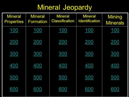Mineral Jeopardy Mineral Properties Mineral Formation Mineral Classification Mineral Identification Mining Minerals 100 200 300 400 500 600.
