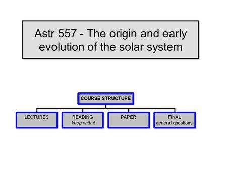 Astr 557 - The origin and early evolution of the solar system.