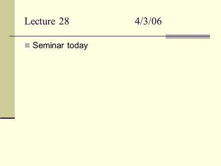 Lecture 284/3/06 Seminar today. Secondary Batteries (rechargeable) Lead Acid battery E° = 2.04 V Anode:Pb(s) + HSO 4 - (aq)  PbSO 4 (s) + H + + 2e -