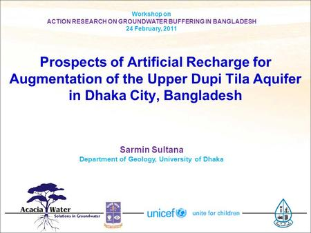Workshop on ACTION RESEARCH ON GROUNDWATER BUFFERING IN BANGLADESH