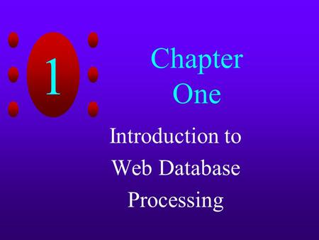 Introduction to Web Database Processing