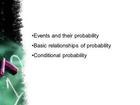 Events and their probability