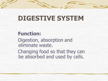 DIGESTIVE SYSTEM Function: Digestion, absorption and eliminate waste. Changing food so that they can be absorbed and used by cells.