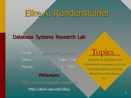 1 Elke A. Rundensteiner Topics projects in database and Information systems, such as, web information systems, distributed databases, Etc. Database Systems.