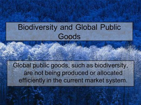 Biodiversity and Global Public Goods Global public goods, such as biodiversity, are not being produced or allocated efficiently in the current market system.