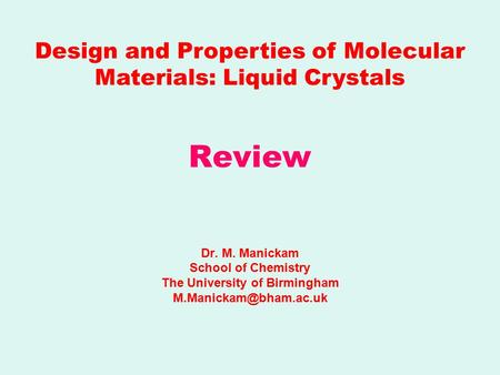 Liquid crystal polymers examples