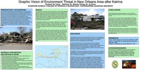 Graphic Vision of Environment Threat in New Orleans Area after Katrina Student: Ke Yang Mentors: Dr. Wendy Zhang, Dr. Ju Chou COMPUTER SCIENCE, COLLEGE.