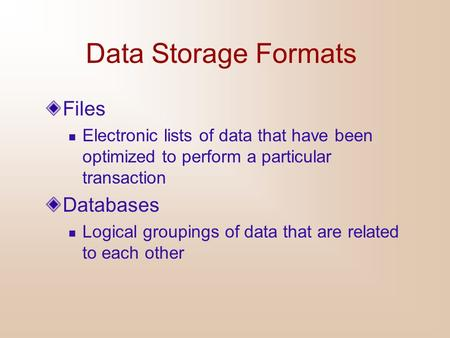 Data Storage Formats Files Databases