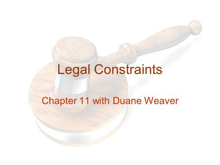Legal Constraints Chapter 11 with Duane Weaver. Outline Market Coverage Policies Customer Coverage Policies Pricing Policies Product Line Policies Selection.
