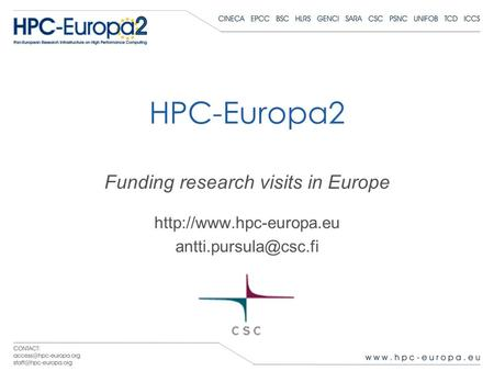HPC-Europa2 Funding research visits in Europe