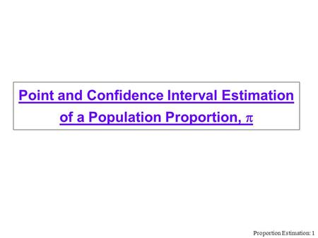 Proportion Estimation: 1 Point and Confidence Interval Estimation of a Population Proportion, 