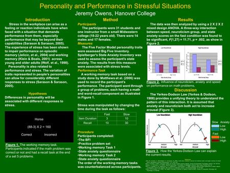 Personality and Performance in Stressful Situations Jeremy Owens, Hanover College Method Participants The participants were 31 students and one instructor.
