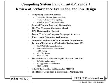 <strong>Computing</strong> Element Choices: <strong>Computing</strong> Element Programmability
