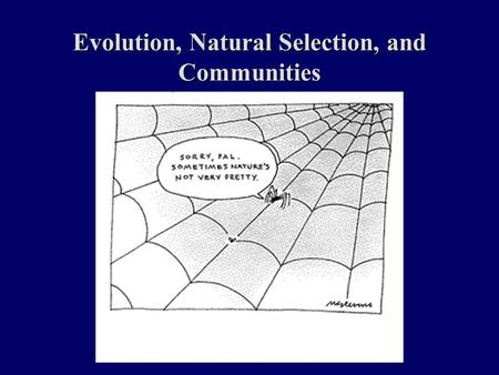 Evolution, Natural Selection, and Communities. Topics And Objectives for the Week Evolution by Natural Selection Community Species Interactions Species.
