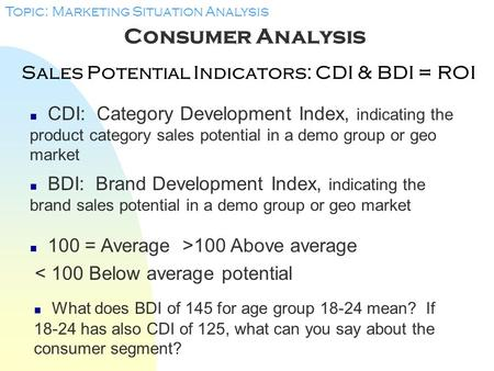 Sales Potential Indicators: CDI & BDI = ROI