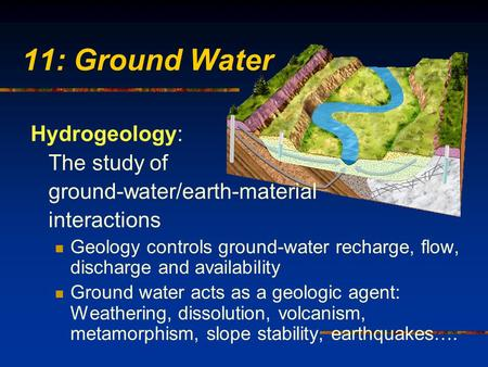 11: Ground Water Hydrogeology: The study of