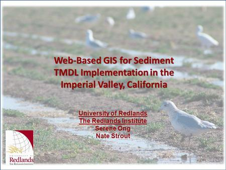 Web-Based GIS for Sediment TMDL Implementation in the Imperial Valley, California University of Redlands The Redlands Institute Serene Ong Nate Strout.