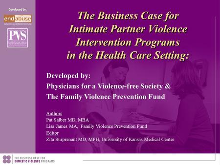 The Business Case for Intimate Partner Violence Intervention Programs in the Health Care Setting: Authors Pat Salber MD, MBA Lisa James MA, Family Violence.