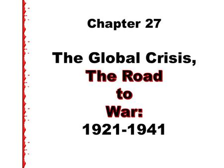 Issues: US Between the Wars How did the US see its role in the world in the 1920s? How did the US react as Europe moved in 1930s toward war? [WWII]?