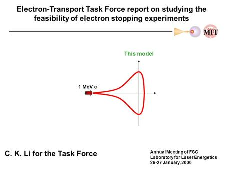 Electron-Transport Task Force report on studying the feasibility of electron stopping experiments C. K. Li for the Task Force Annual Meeting of FSC Laboratory.