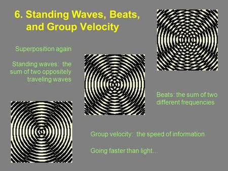 6. Standing Waves, Beats, and Group Velocity Group velocity: the speed of information Going faster than light... Superposition again Standing waves: the.