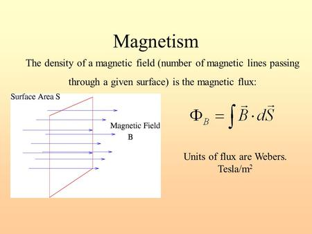 Magnetism The density of a magnetic field (number of magnetic lines passing through a given surface) is the magnetic flux: Units of flux are Webers. Tesla/m.