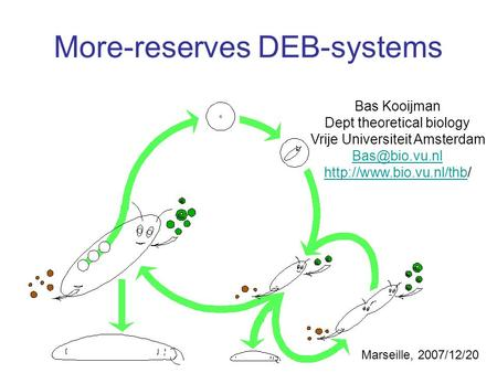 Bas Kooijman Dept theoretical biology Vrije Universiteit Amsterdam  More-reserves DEB-systems.