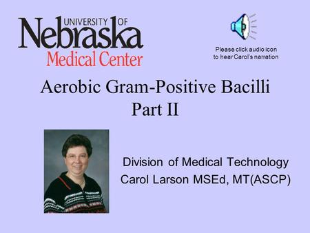 Aerobic Gram-Positive Bacilli Part II Division of Medical Technology Carol Larson MSEd, MT(ASCP) Please click audio icon to hear Carol's narration.