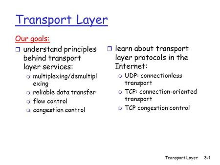 Transport Layer3-1 Transport Layer Our goals: r understand principles behind transport layer services: m multiplexing/demultipl exing m reliable data transfer.