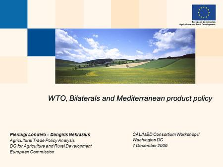 WTO, Bilaterals and Mediterranean product policy Pierluigi Londero – Dangiris Nekrasius Agricultural <strong>Trade</strong> Policy Analysis DG for Agriculture and Rural.