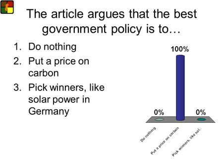 The article argues that the best government policy is to… 1.Do nothing 2.Put a price on carbon 3.Pick winners, like solar power in Germany.