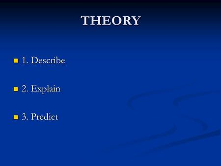 THEORY 1. Describe 1. Describe 2. Explain 2. Explain 3. Predict 3. Predict.