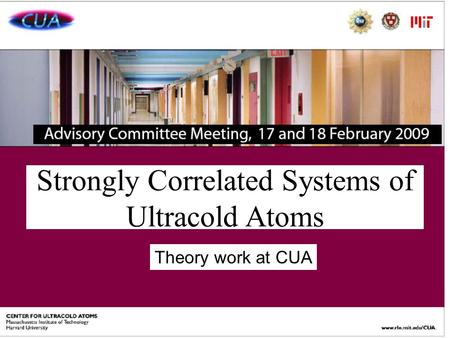 Strongly Correlated Systems of Ultracold Atoms Theory work at CUA.