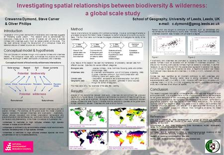 Investigating spatial relationships between biodiversity & wilderness: a global scale study Crewenna Dymond, Steve Carver School of Geography, University.