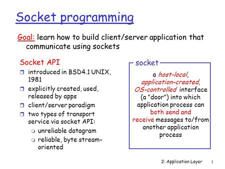 2: Application Layer1 Socket programming Socket API r introduced in BSD4.1 UNIX, 1981 r explicitly created, used, released by apps r client/server paradigm.