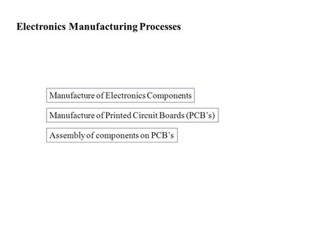 Electronics Manufacturing Processes Manufacture of Electronics Components Manufacture of Printed Circuit Boards (PCB's) Assembly of components on PCB's.