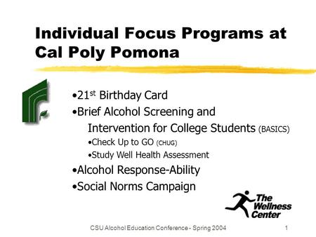 CSU Alcohol Education Conference - Spring 20041 Individual Focus Programs at Cal Poly Pomona 21 st Birthday Card Brief Alcohol Screening and Intervention.