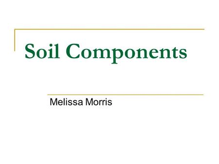 Soil Components Melissa Morris. Four Major Components Organic Matter Water Air Mineral Materials Exist in a close mixed condition Interactions among components.