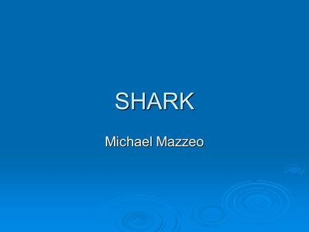 SHARK Michael Mazzeo. SHARK BASICS  There are about 250 species of sharks, ranging from 2-ft to 50-ft. They are found in all seas, but are most abundant.