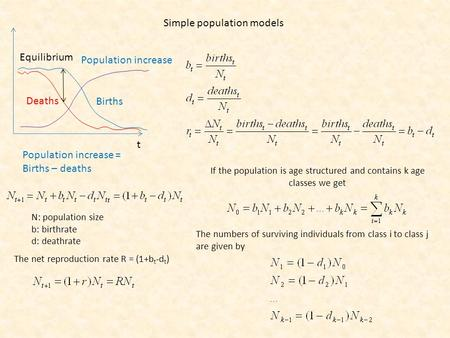Simple population models Births Deaths Population increase Population increase = Births – deaths t Equilibrium N: population size b: birthrate d: deathrate.