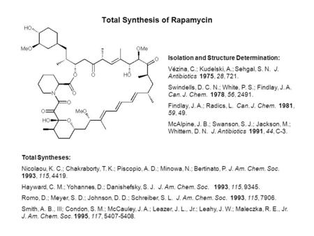 Total Synthesis of Rapamycin Isolation and Structure Determination: Vézina, C.; Kudelski, A.; Sehgal, S. N. J. Antibiotics 1975, 28, 721. Swindells, D.