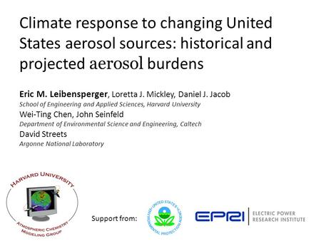 Eric M. Leibensperger, Loretta J. Mickley, Daniel J. Jacob School of Engineering and Applied Sciences, Harvard University Climate response to changing.