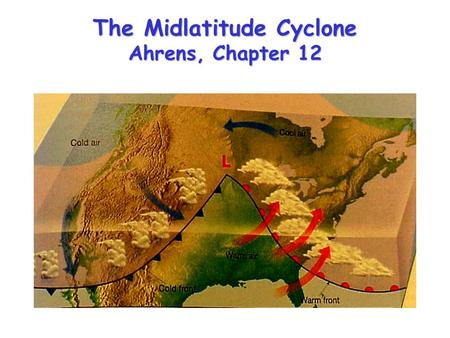 "The Midlatitude Cyclone Ahrens, Chapter 12. Waves on the polar vortex Hemispheric westerlies typically organized into 4-6 ""long waves"" Wind blows through."