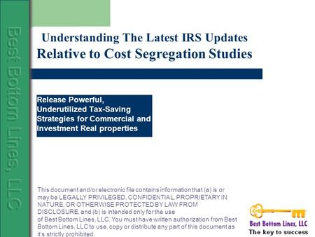Release Powerful, Underutilized Tax-Saving Strategies for Commercial and Investment Real properties Understanding The Latest IRS Updates Relative to Cost.