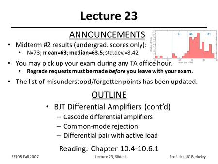 EE105 Fall 2007Lecture 23, Slide 1Prof. Liu, UC Berkeley Lecture 23 OUTLINE BJT Differential Amplifiers (cont'd) – Cascode differential amplifiers – Common-mode.